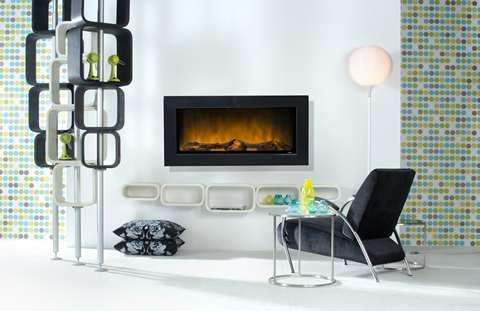 Elektro Wandkamin - sehr breit 120 cm in silber, weiß, schwarz